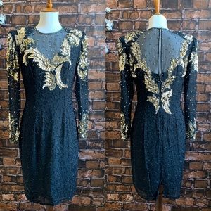 Vintage Black and Gold Sequin Silk Beaded Dress